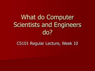 What do Computer Scientists and Engineers do?
