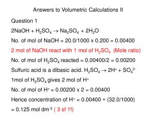 Answers to Volumetric Calculations II