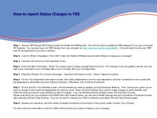 How to report Status Changes in YBR