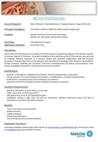 MS and PhD Positions