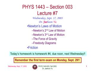 PHYS 1443 – Section 003 Lecture #7