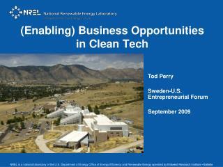 (Enabling) Business Opportunities  in Clean Tech