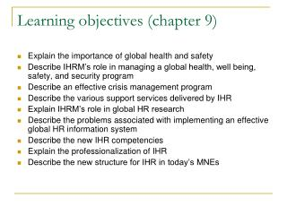 Learning objectives (chapter 9)