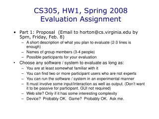 CS305, HW1, Spring 2008 Evaluation Assignment