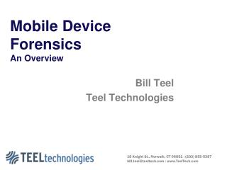 Mobile Device Forensics An Overview