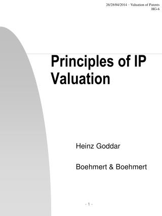 Principles of IP Valuation