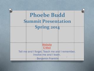 Phoebe Budd Summit Presentation Spring 2014