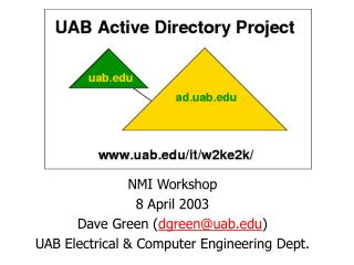 UAB Windows 2000  Active Directory Project