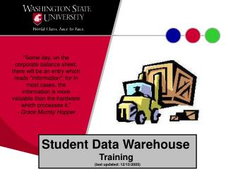 Student Data Warehouse  Training  (last updated: 12/15/2005)
