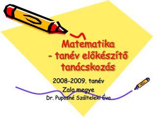 Matematika  - tanév előkészítő tanácskozás