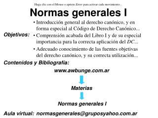 Normas generales I