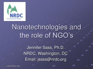 Nanotechnologies and the role of NGO's