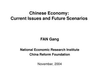 Chinese Economy:  Current Issues and Future Scenarios