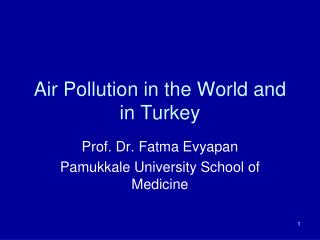 Air Pollution in the World and in Turkey