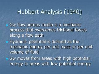 Hubbert Analysis (1940)