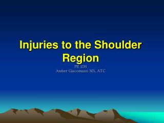 Injuries to the Shoulder Region PE 236 Amber  Giacomazzi  MS, ATC