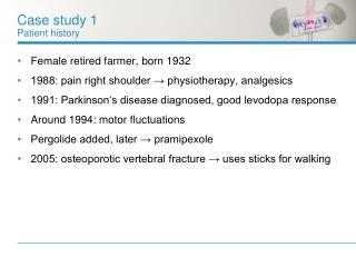 Case study 1 Patient history