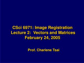 CSci 6971: Image Registration  Lecture 2:  Vectors and Matrices February 24, 2005