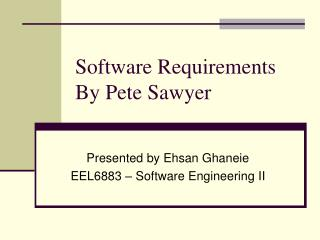 Software Requirements By Pete Sawyer