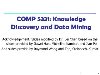 COMP 5331: Knowledge Discovery and Data Mining