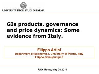 GIs products, governance and price dynamics: Some evidence from Italy.