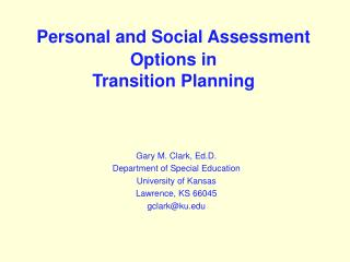Personal and Social Assessment Options in Transition Planning