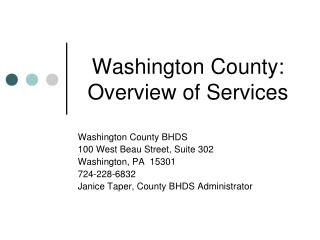 Washington County: Overview of Services