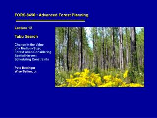 FORS 8450 • Advanced Forest Planning Lecture 12 Tabu Search
