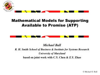 Mathematical Models for Supporting Available to Promise (ATP)
