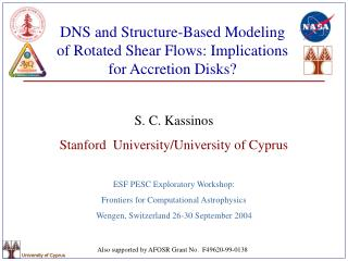 DNS and Structure-Based Modeling of Rotated Shear Flows: Implications for Accretion Disks?