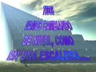 TODOS VAMOS CAMBIANDO DE NIVEL, COMO EN UNA ESCALERA....