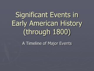 Significant Events in Early American History  (through 1800)