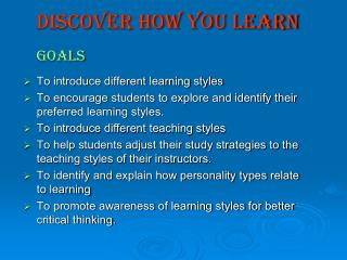 Discover how You Learn Goals