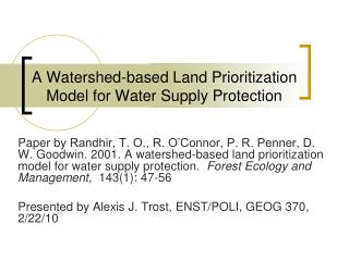 A Watershed-based Land Prioritization Model for Water Supply Protection