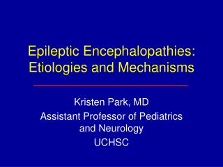 Epileptic Encephalopathies: Etiologies and Mechanisms