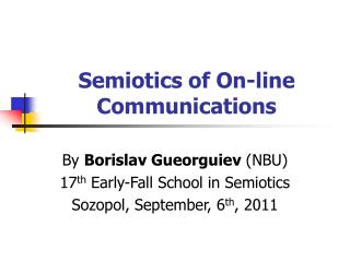 Semiotics of On-line Communications