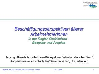 Besch ftigungsperspektiven  lterer ArbeitnehmerInnen   in der Region Ostfriesland - Beispiele und Projekte