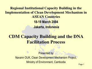 I. Introduction II. Institutional and Legal Frameworks III.Status of the DNA Creation