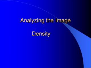 Analyzing the Image Density