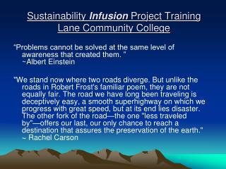 Sustainability Infusion Project Powerpoint