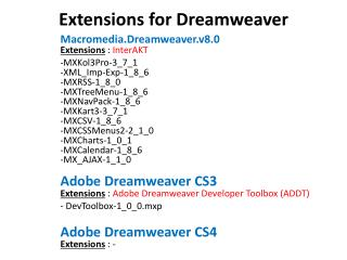 Extensions for Dreamweaver