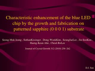Journal of Crystal Growth 312 (2010) 258–262