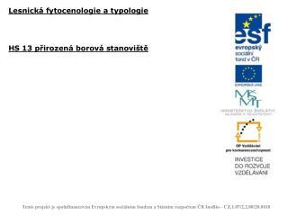 Lesnická fytocenologie a typologie HS 13 přirozená borová stanoviště