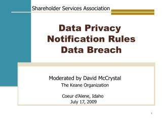 Data Privacy   Notification Rules  Data Breach