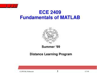 ECE 2409 Fundamentals of MATLAB