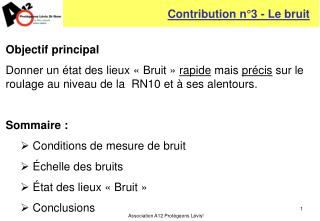 Contribution n°3 - Le bruit