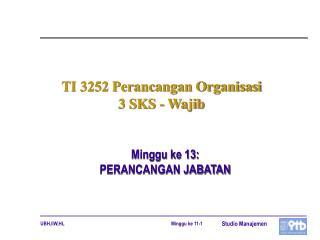 TI 3252 Perancangan Organisasi   3 SKS - Wajib