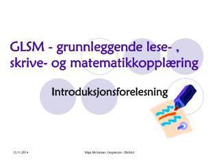 GLSM - grunnleggende lese- , skrive- og matematikkopplæring