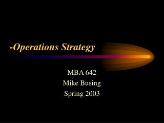 -Operations Strategy