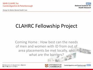 CLAHRC Fellowship Project